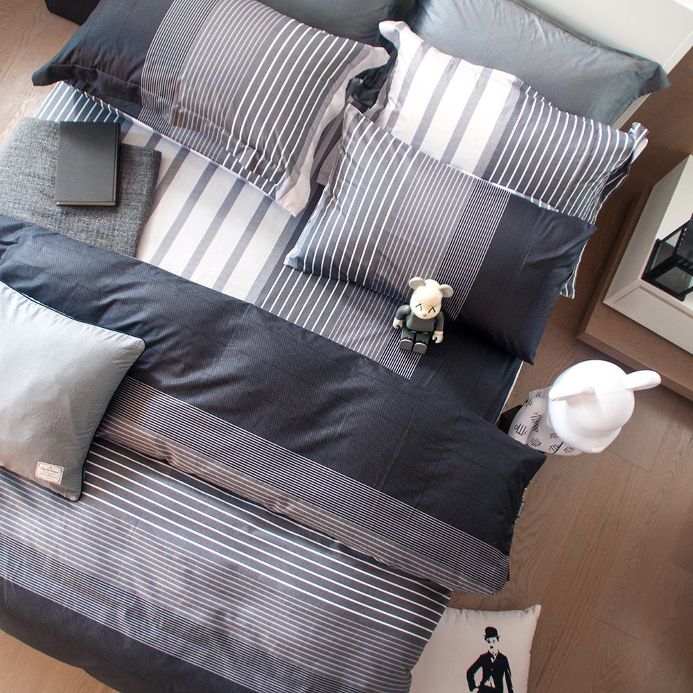 OLIVIA 《諾曼爾 灰黑》單人床包枕套兩件組 都會簡約