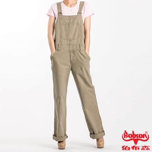 BOBSON 女款低腰刷白牛仔吊帶褲(D726-72)