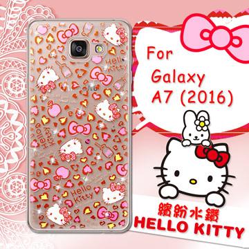 三麗鷗SANRIO正版授權 Hello Kitty Samsung Galaxy A7 (2016) 水鑽系列透明軟式手機殼(豹紋凱蒂)