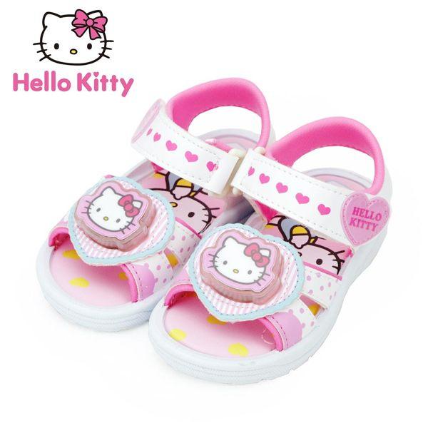 【MODAbobo】Hello Kitty 童鞋 愛心電燈女童涼鞋-白/粉 814629