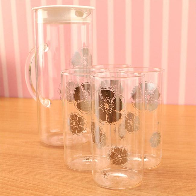Artist精選 安琪冷熱兩用耐熱玻璃水杯組 (水壺1200ml+水杯350ml*4)