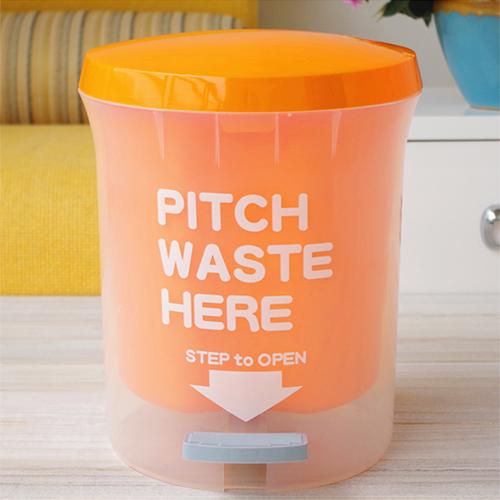 PUSH! 居家 用品 colourful磨砂垃圾桶 置物桶 大號11升 L I26-2橙