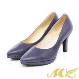 MK-台灣製全真皮-特殊壓紋皮革甜美高跟鞋-藍色