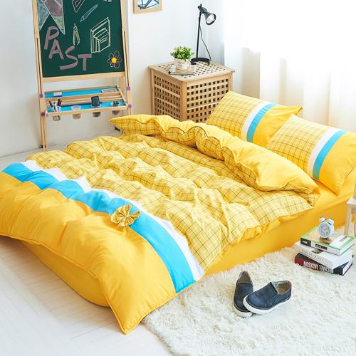 RODERLY 皇家學院 柔絲絨 加大四件式舖棉兩用被床包組