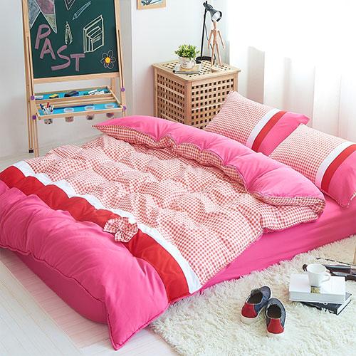 RODERLY 萌學院 柔絲絨 加大四件式舖棉兩用被床包組