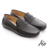 【A.S.O】型男超輕 真皮金屬飾釦魔鬼氈紳士鞋(黑)