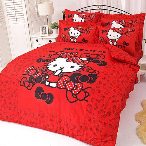 【享夢城堡】HELLO KITTY 我的小可愛系列-雙人純棉四件式薄被套床包組(粉)(紅)