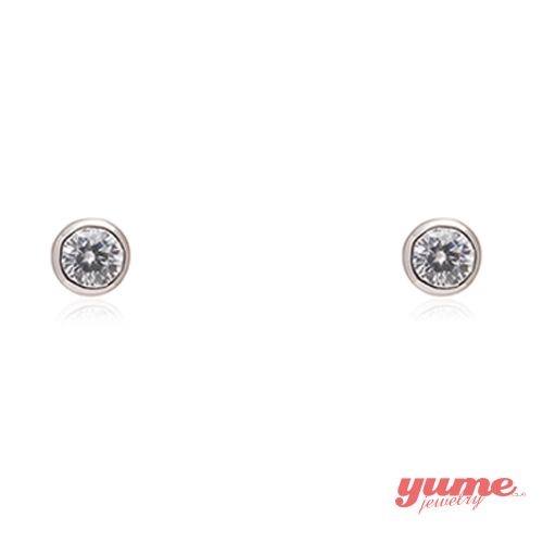 【YUME】4mm包鑲單鑽耳環