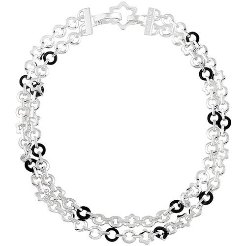 MONT BLANC 萬寶龍 六角星釦環雙圈純銀項鍊
