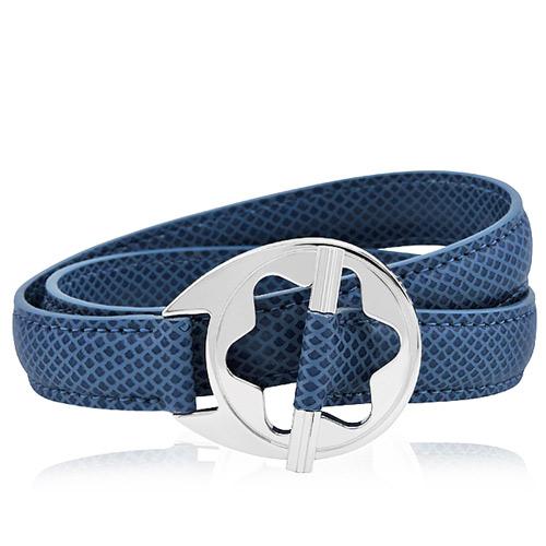 MONT BLANC 萬寶龍 六角星純銀雙環釦手環-藍色