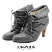 【LORIMODA】義大利手工鞋 手工拉皺鞋口反折皮革中跟低統靴真皮防滑底 GENOA.6(深灰)