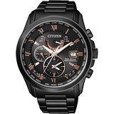 CITIZEN 光動能電波萬年曆腕錶-黑x玫瑰金時標/43mm AT9085-53E