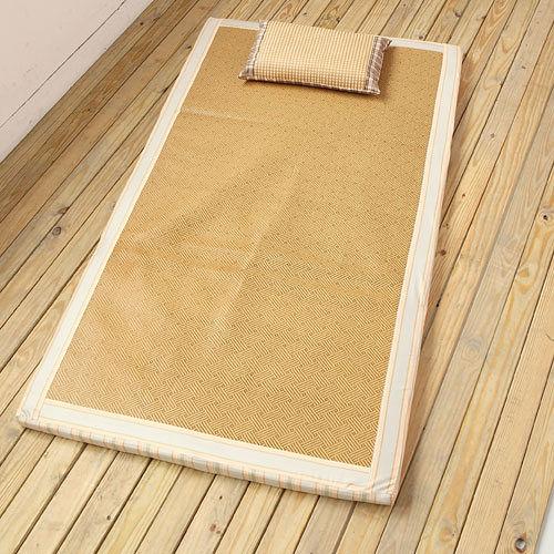 日式和風仿拉菲草抗菌涼感兩用床墊(雙人) 可折疊易收納,四季皆宜使用!
