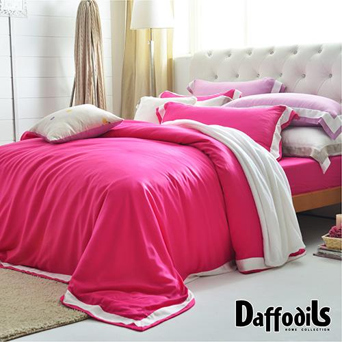 Daffodils《天絲 玩色設計系列.裸-亮麗桃紅》單人三件式被套床包組