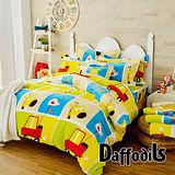Daffodils《早安小鹿》雙人四件式超柔法蘭絨兩用被鋪棉床包組