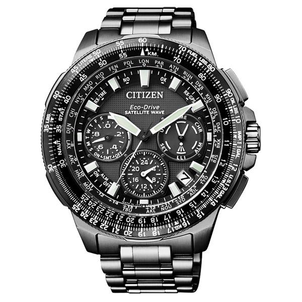 CITIZEN Eco-Drive 鑄鐵煉鋼衛星對時鈦金屬腕錶-黑