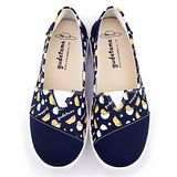 童鞋城堡-蛋黃哥 女款 塗鴉印刷懶人休閒鞋GU7501-藍