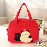ABS貝斯貓 可愛貓咪手工拼布手提包/提袋 (活力紅) 88-023