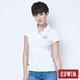 EDWIN 斑駁貼布短袖POLO衫-女-白色