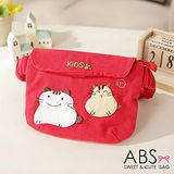 ABS貝斯貓-可愛貓咪手工拼布小朋友腰包/手提包(活力紅)88-033