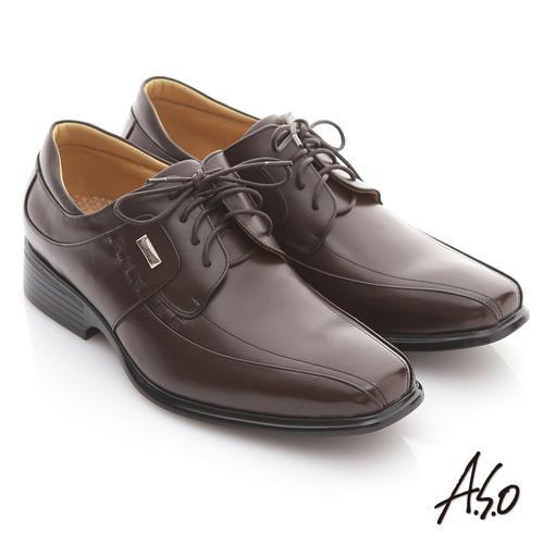 【A.S.O】頂級氣墊 全真皮金屬飾釦綁帶紳士鞋(咖啡)