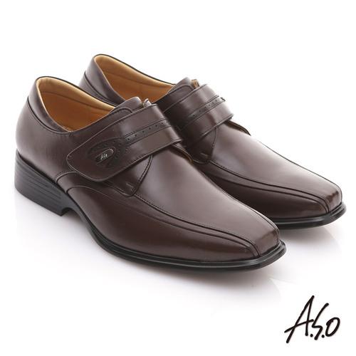 【A.S.O】頂級氣墊 全真皮金屬飾釦魔鬼氈紳士鞋(咖啡)