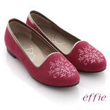【effie】effie 舒適樂福 絨面羊皮刺繡圖紋平底鞋(桃粉)