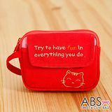 ABS貝斯貓 HaveFun微笑貓咪拼布 雙層複合功能零錢包(鮮梅紅)88-178