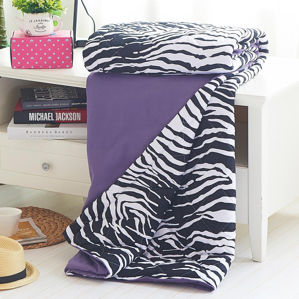 RODERLY 淺紫 時尚拼色斑馬涼被單件