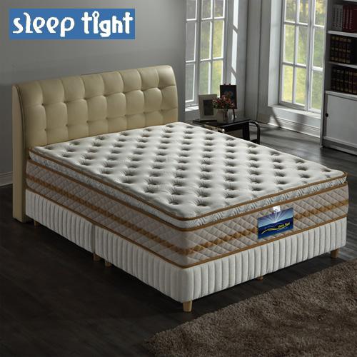 【Sleep tight】真三線高蓬度/蠶絲/乳膠/舒柔布/蜂巢式獨立筒床墊(麵包床)(奢華型)-5尺雙人