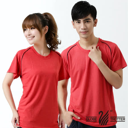 【遊遍天下】台灣製中性款涼感圓領吸濕排汗機能衫S0707紅色