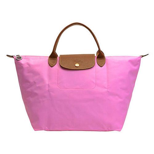 Longchamp 經典高彩度可摺疊水餃包_ 短把/中/玫瑰粉
