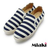 【Miaki】MIT 懶人鞋東大韓流平底休閒帆布鞋 (藍色)