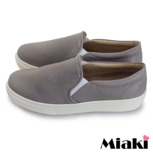 【Miaki】MIT 休閒鞋韓版皮質平底包鞋懶人鞋 (灰色)