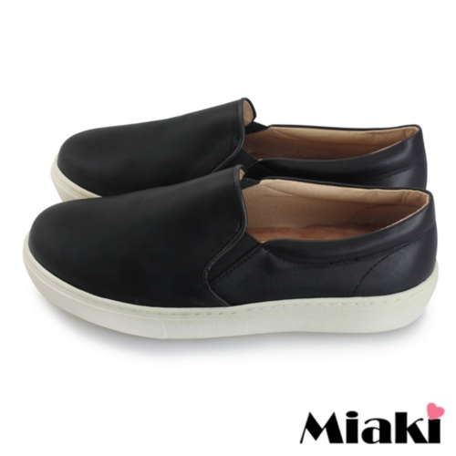 【Miaki】MIT 休閒鞋韓版皮質平底包鞋懶人鞋 (黑色)