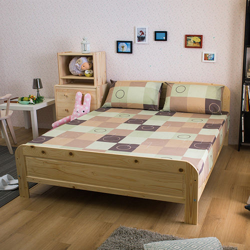 床板高度可調整 北歐實木床架(雙人)