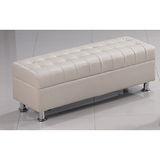 里約4尺米白皮沙發椅凳