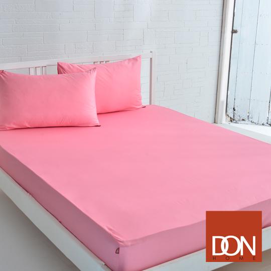 《DON 原色時尚》雙人200織精梳純棉床包枕套三件組-俏皮桃粉