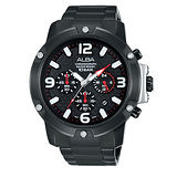 ALBA 競速傳說三眼計時男用腕錶-黑/45mm/VD53-X218SD(AT3825X1)