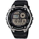 CASIO潛戰世界先鋒運動電子錶(膠帶/黑) AE-2100W-1A