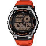 CASIO潛戰世界先鋒運動電子錶(膠帶/橘紅) AE-2100W-4A