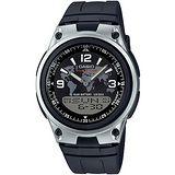 CASIO 都會個性地圖紋雙顯腕錶(膠帶/黑面) AW-80-1A2