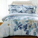 《KOSNEY 逆流的時光-藍》加大100%天絲TENCEL四件式兩用被床包組