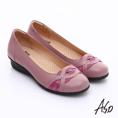 【A.S.O】 舒適通勤 水鑽奢華通勤鞋(桃粉紅)