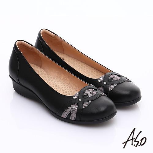 【A.S.O】舒適通勤 水鑽奢華通勤鞋(黑)