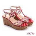 【effie】 摩登美型 鏡面真皮海軍風繞踝楔型涼鞋(紅)