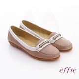 【effie】編織樂時尚 全真皮編織奈米平底鞋(卡其)
