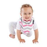 【Mum 2 Mum】雙面時尚造型口水巾圍兜-條紋/桃紅