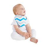 【Mum 2 Mum】雙面時尚造型口水巾圍兜-條紋/藍