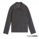 獨身貴族 CASHMERE喀什米爾羊毛小翻領短版大衣(2色)-中花灰